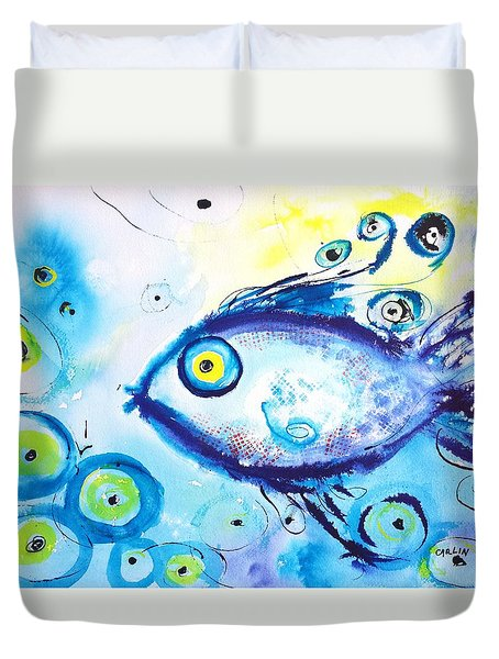 Good Luck Fish Abstract Duvet Cover by Carlin Blahnik