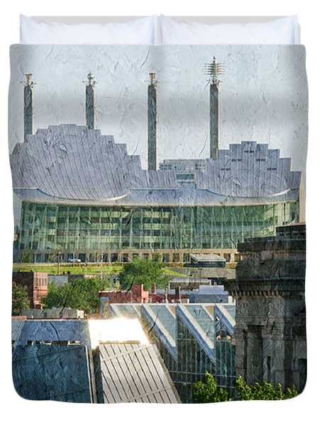 Good Morning Kansas City Skyline Painterly Duvet Cover by Andee Design