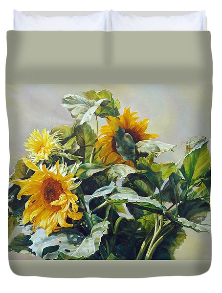 Duvet Cover featuring the painting Good Morning - Sunflower In Love by Svitozar Nenyuk