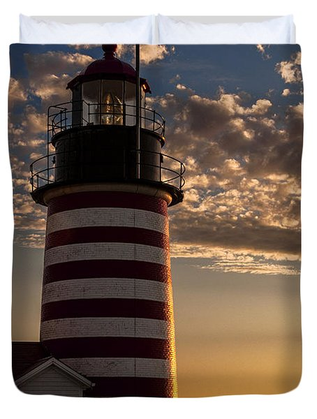 Good Morning West Quoddy Head Lighthouse Duvet Cover
