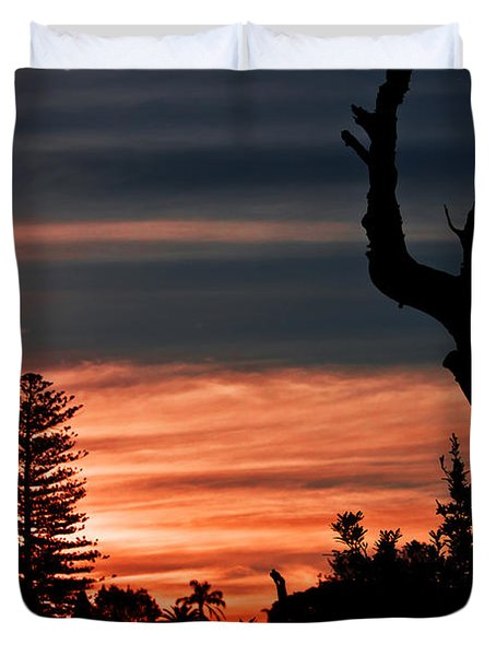 Duvet Cover featuring the photograph Good Night Trees by Miroslava Jurcik