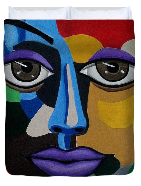 Colorful Illusion Abstract Face Art Painting, Big Brown Eye Art, Optical Artwork Duvet Cover