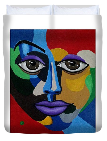 Google Me - Abstract Art Painting - Colorful Abstract Face - Ai P. Nilson Duvet Cover