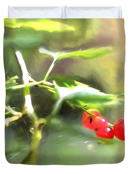 Duvet Cover featuring the photograph Goosberry Imp by Leif Sohlman