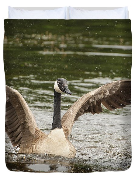 Goose Action Duvet Cover by Karol Livote