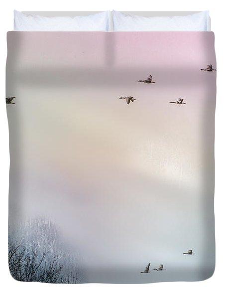 Goose Flight Duvet Cover by Hannes Cmarits