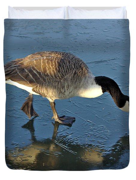 Goose On Ice Duvet Cover