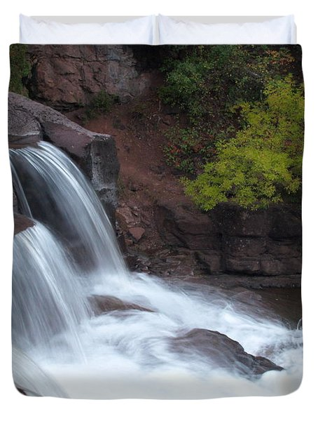 Duvet Cover featuring the photograph Gooseberry Falls In Slow Motion by James Peterson