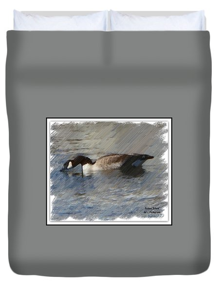 Goosey Lucy Painting Duvet Cover by Bobbee Rickard