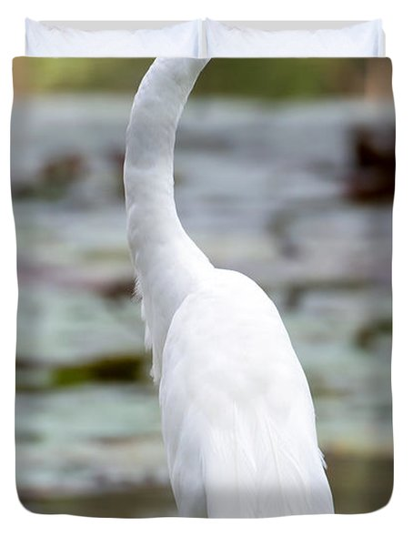 Gorgeous N Tall Great White Egret Duvet Cover by Sabrina L Ryan