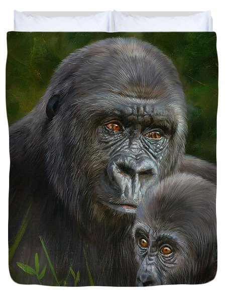 Gorilla And Baby Duvet Cover by David Stribbling