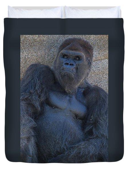 Gorilla  Portrait Duvet Cover by Garry Gay