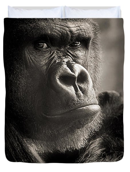 Gorilla Poses I Duvet Cover
