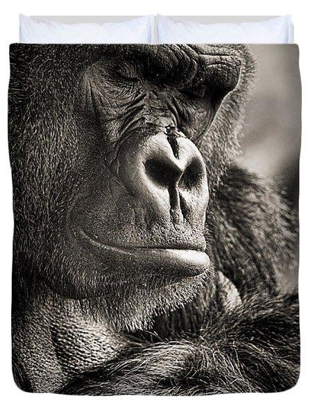 Gorilla Poses II Duvet Cover