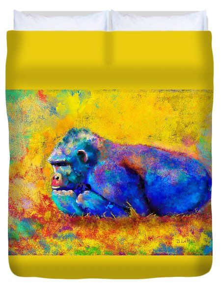 Duvet Cover featuring the painting Gorilla by Sean McDunn