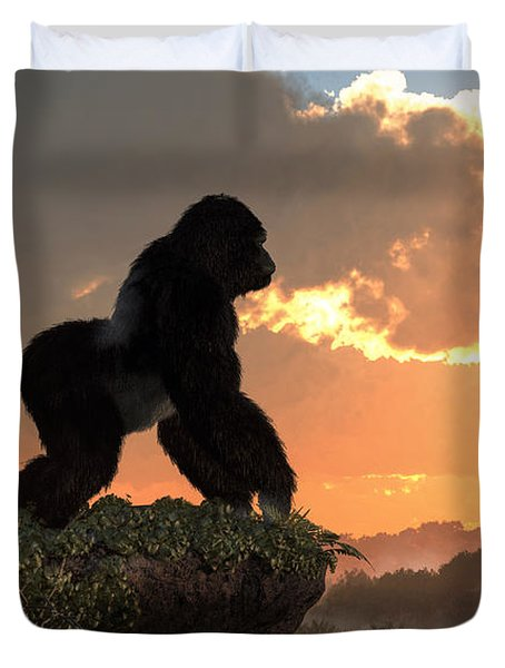 Gorilla Sunset Duvet Cover