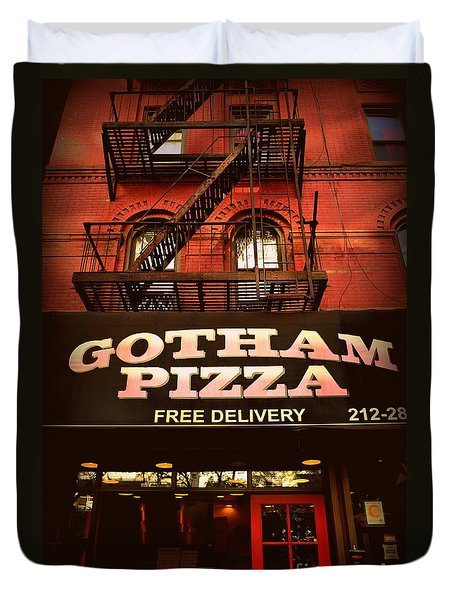 Gotham Pizza Duvet Cover by Miriam Danar