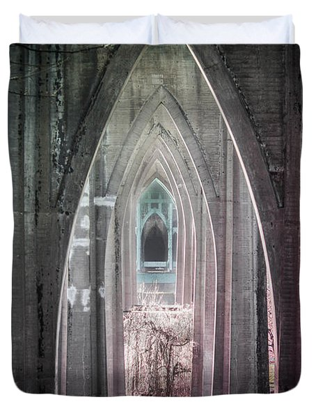 Gothic Arches Hands Folded In Prayer Duvet Cover
