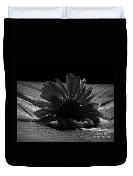 Gothic Birthday Flower Bw Duvet Cover by Chalet Roome-Rigdon