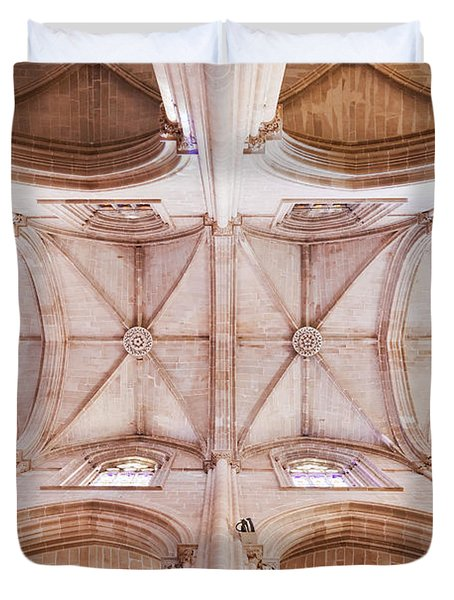 Gothic Ceiling Of The Batalha Monastery Church Duvet Cover by Jose Elias - Sofia Pereira