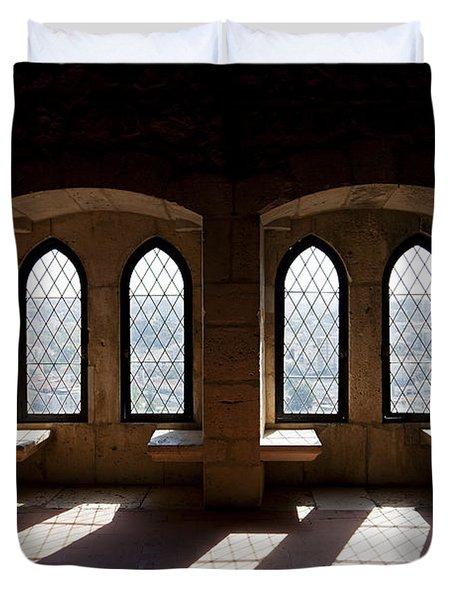 Gothic Windows Of The Royal Residence In The Leiria Castle Duvet Cover by Jose Elias - Sofia Pereira