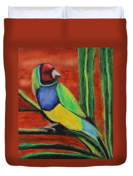 Duvet Cover featuring the painting Gouldian Finch by Jeanne Fischer
