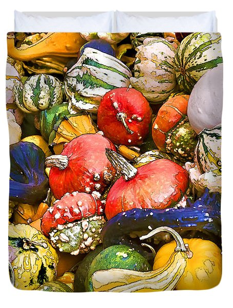 Gourds And Pumpkins At The Farmers Market Duvet Cover
