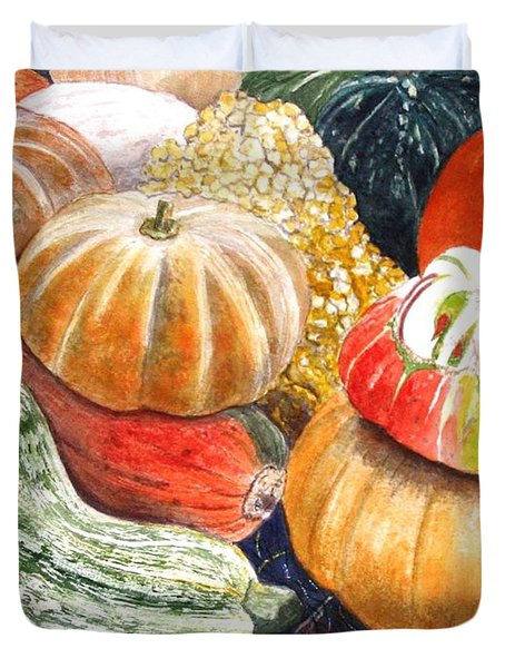 Duvet Cover featuring the painting Gourds by Carol Flagg