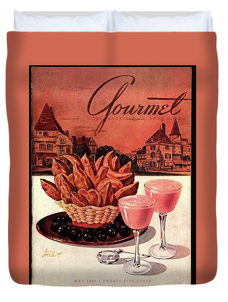 Gourmet Cover Featuring A Basket Of Potato Curls Duvet Cover