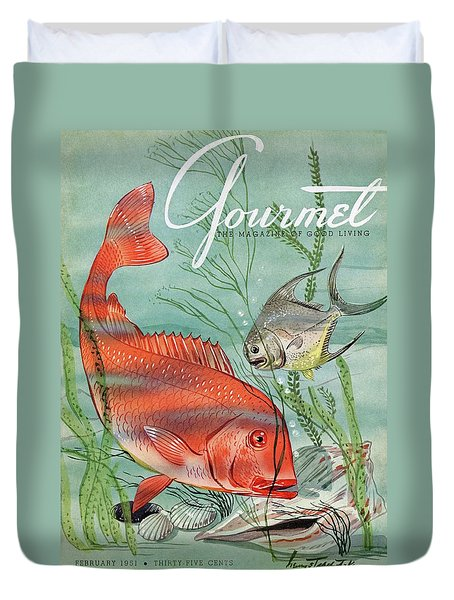 Gourmet Cover Featuring A Snapper And Pompano Duvet Cover