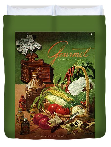 Gourmet Cover Featuring A Variety Of Vegetables Duvet Cover