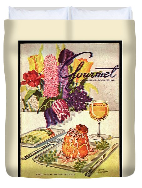 Gourmet Cover Featuring Sweetbread And Asparagus Duvet Cover