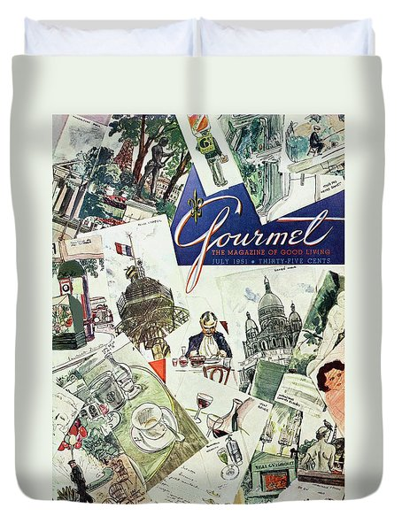Gourmet Cover Illustration Of Drawings Portraying Duvet Cover