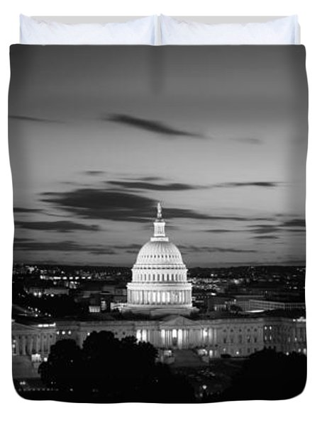 Government Building Lit Up At Night, Us Duvet Cover by Panoramic Images