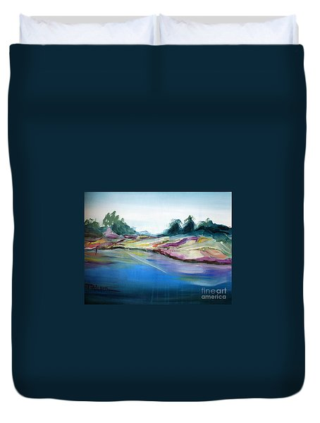Duvet Cover featuring the painting Gowrie Creek Spring by Therese Alcorn
