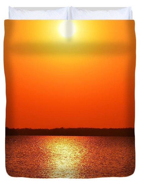 Grab Your Cup Of Coffee And Enjoy The Sunrise Duvet Cover by Dacia Doroff