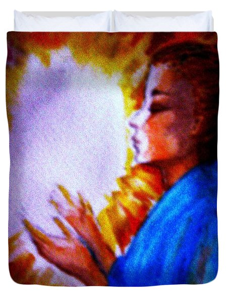 Duvet Cover featuring the painting Grace - 1 by Leanne Seymour