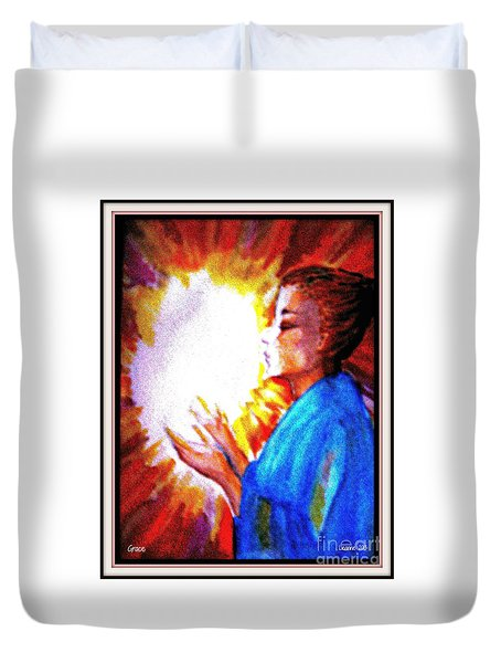 Duvet Cover featuring the painting Grace - 2 by Leanne Seymour