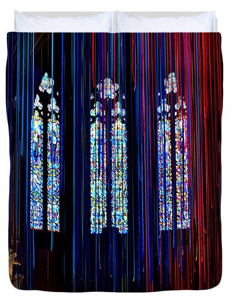 Grace Cathedral With Ribbons Duvet Cover by Dean Ferreira