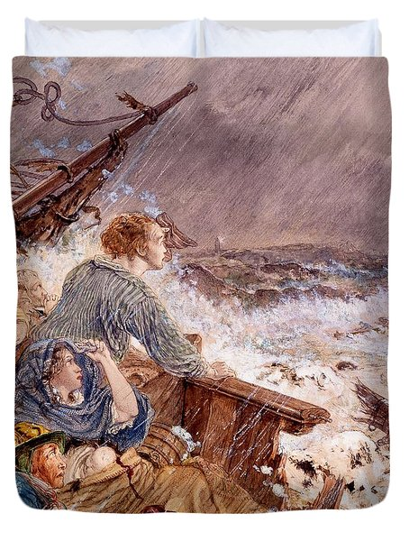 Grace Darling And Her Father Saving Duvet Cover