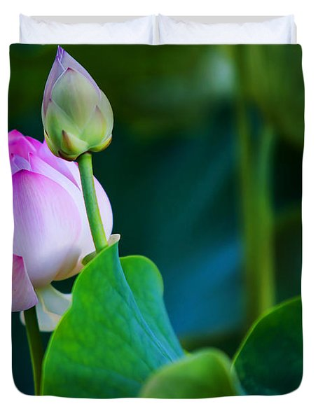 Graceful Lotus. Pamplemousses Botanical Garden. Mauritius Duvet Cover by Jenny Rainbow