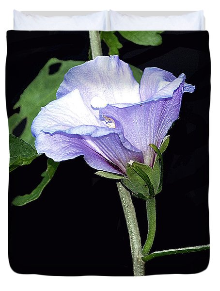 Graceful Purple Hollyhock Duvet Cover