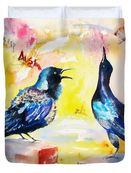 Grackles And Graffiti  Duvet Cover
