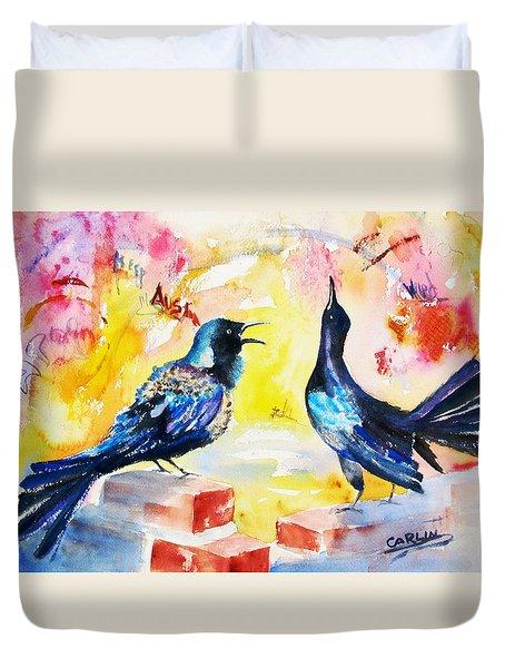 Grackles And Graffiti  Duvet Cover by Carlin Blahnik