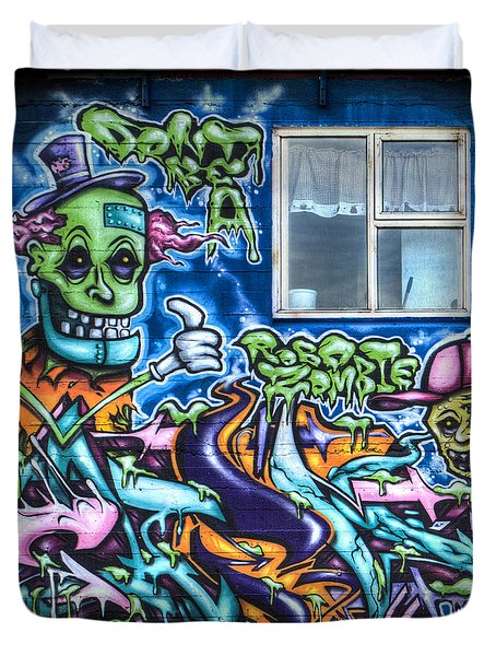 Graffiti City Duvet Cover by Evelina Kremsdorf