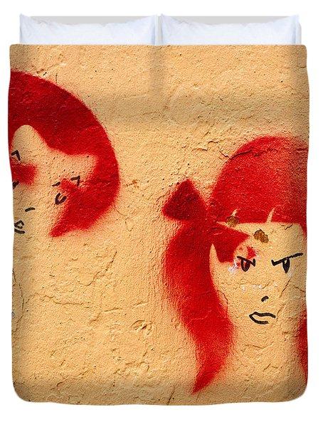 Graffiti Girls 02 Duvet Cover by Rick Piper Photography