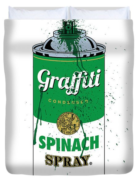 Graffiti Spinach Spray Can Duvet Cover