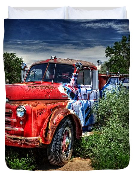Duvet Cover featuring the photograph Grafitti Fire Truck by Ken Smith