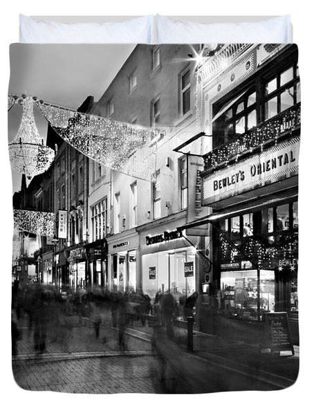 Duvet Cover featuring the photograph Grafton Street At Night / Dublin by Barry O Carroll