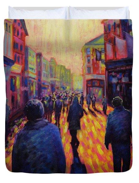Grafton Street Dublin Duvet Cover by John  Nolan